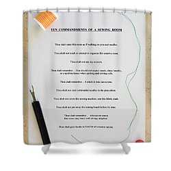 Sewing Room Sign Shower Curtain by Sally Weigand