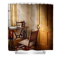 Sewing - She Used To Love This Machine Shower Curtain by Mike Savad