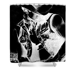 Print With Black And White Sexy Cowboy  Shower Curtain by RjFxx at beautifullart com