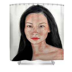 Sexy Freckle Faced Beauty Lucy Liu Shower Curtain by Jim Fitzpatrick