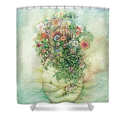 Shabbat Vase Shower Curtain by Michoel Muchnik