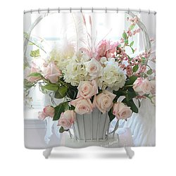 Shabby Chic Basket Of White Hydrangeas - Pink Roses - Dreamy Shabby Chic Floral Basket Of Roses Shower Curtain by Kathy Fornal