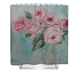 Shabby Chic Pink Roses Oil Palette Knife Painting Shower Curtain