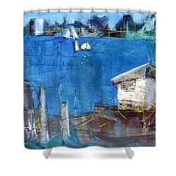 Shower Curtain featuring the painting Shack On The Bay by Betty Pieper