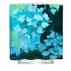 Shades Of Green And Light Shower Curtain by Kathy Braud