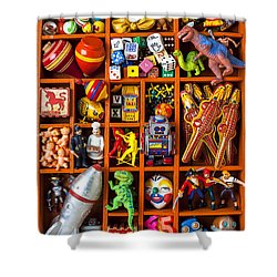 Shadow Box Full Of Toys Shower Curtain