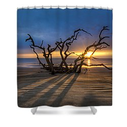Shadows On The Sand Shower Curtain by Debra and Dave Vanderlaan
