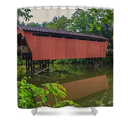 Shaeffer Or Campbell Covered Bridge Shower Curtain by Jack R Perry