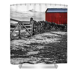 Shakertown Red Barn - Sc Shower Curtain by Mary Carol Story