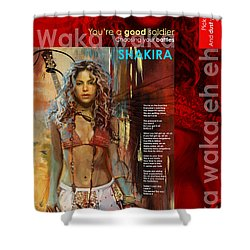 Shakira Art Poster Shower Curtain by Corporate Art Task Force