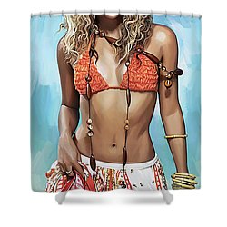 Shakira Artwork Shower Curtain by Sheraz A