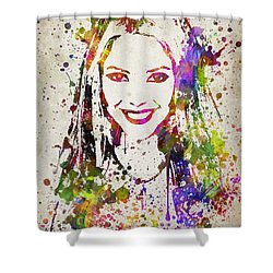 Shakira In Color Shower Curtain by Aged Pixel