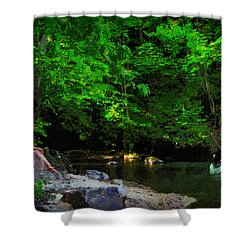 Shall We Gather At The River Shower Curtain by Lianne Schneider