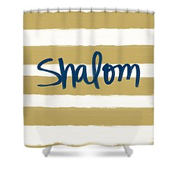Shalom- Blue With Gold Shower Curtain