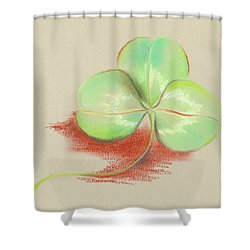 Shower Curtain featuring the pastel Shamrock Clover by MM Anderson