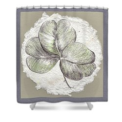 Shower Curtain featuring the drawing Shamrock On Handmade Paper by MM Anderson