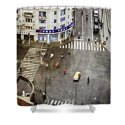 Shanghai China Big City Urban Scene From Above Shower Curtain by Jani Bryson