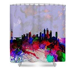 Shanghai Watercolor Skyline Shower Curtain