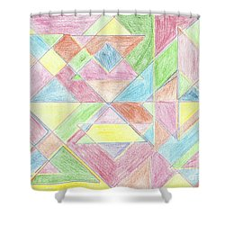 Shower Curtain featuring the drawing Shapes Of Colour by Tracey Williams