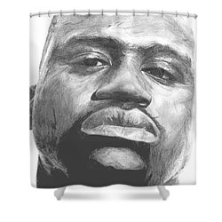 Shower Curtain featuring the drawing Shaq by Tamir Barkan