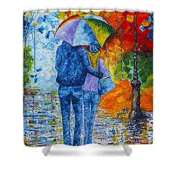 Shower Curtain featuring the painting Sharing Love On A Rainy Evening Original Palette Knife Painting by Georgeta Blanaru