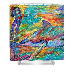 Shark Beauty Shower Curtain by Kendall Kessler