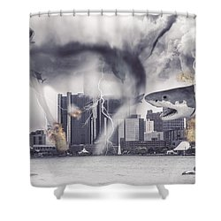 Shower Curtain featuring the photograph Sharknado Detroit by Nicholas  Grunas
