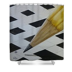 Shower Curtain featuring the painting Sharpen Your Pencil For This Puzzle by Kelly Mills