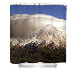 Shasta Storm Shower Curtain by Bill Gallagher