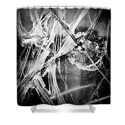 Shower Curtain featuring the photograph Shatter - Black And White by Joseph Skompski