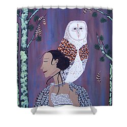 She Flies With The Owls Shower Curtain