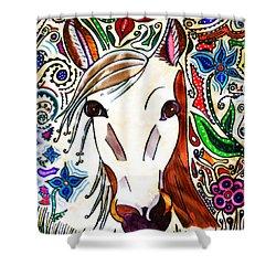 She Grazes Where Flowers Grow - Horse Shower Curtain