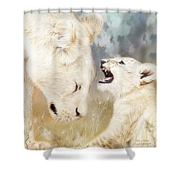 She Listens - Square Format Shower Curtain by Carol Cavalaris
