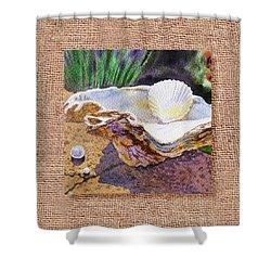 She Sells Sea Shells Decorative Design Shower Curtain by Irina Sztukowski