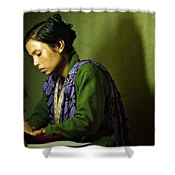 She Sews Into The Night Shower Curtain by Valerie Rosen