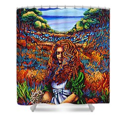 Shower Curtain featuring the painting She Was... by Greg Skrtic