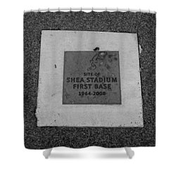 Shea Stadium First Base In Black And White Shower Curtain by Rob Hans