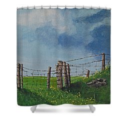 Sheep Field Shower Curtain by Barbara McDevitt