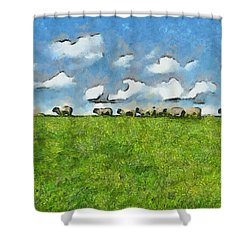 Sheep Herd Shower Curtain by Inspirowl Design