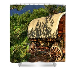 Sheep Herder's Wagon Shower Curtain by Donna Kennedy