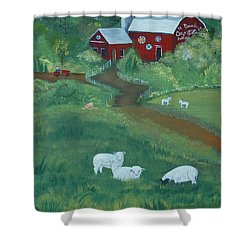 Sheeps In The Meadow Shower Curtain