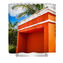Shelter Orange Shower Curtain by Melinda Ledsome