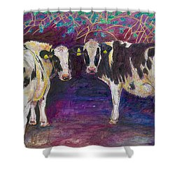 Sheltering Cows Shower Curtain by Helen White