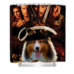 Sheltie - Shetland Sheepdog Art Canvas Print - Pirates Of The Caribbean The Curse Of The Black Pearl Shower Curtain