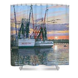 Shem Creek Shrimpers Charleston  Shower Curtain
