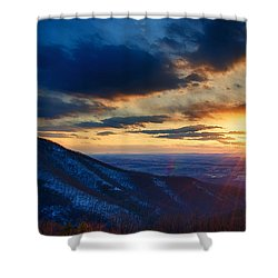Shenandoah Sunset Shower Curtain by Joan Carroll
