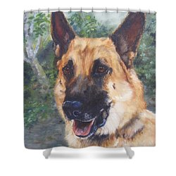 Shower Curtain featuring the painting Shep by Lori Brackett
