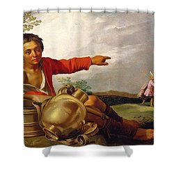 Shepherd Boy Pointing At Tobias And The Angel Shower Curtain by Abraham Bloemaert