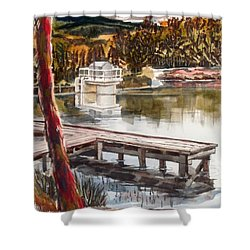 Shepherd Mountain Lake In Twilight Shower Curtain by Kip DeVore