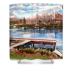 Shepherd Mountain Lake In Winter Shower Curtain